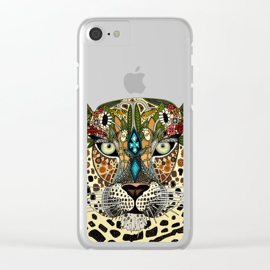 leopard queen blue Clear iPhone Case
