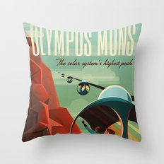Vintage Adventure Travel Olympus Mons Throw Pillow