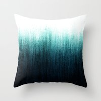 teal Throw Pillows featuring Teal Ombré by Caitlin Workman