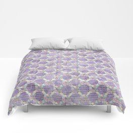 Roses & Forget Me Nots Wreath Purple Comforters