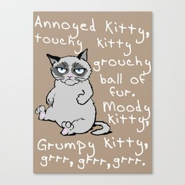 Annoyed kitty (white) Canvas Print