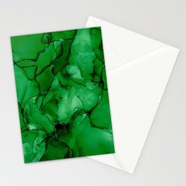 Deep Green Abstract: Original Alcohol Ink Painting Stationery Cards