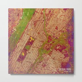 Central Park New York, old map, vintage old map, mapa antiguo, american map Metal Print
