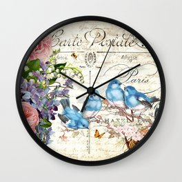 Vintage Postcard with Bluebirds Wall Clock