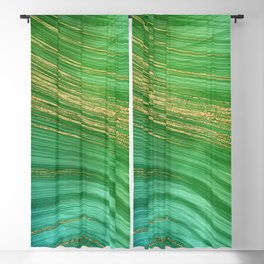 Green Mermaid Glamour Marble With Gold Veins Blackout Curtain