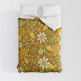 1970s Retro Flowers Pattern in Yellow, Orange & Olive Green Comforters