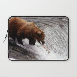 Bear Catching Salmon - Wildlife Photography Laptop Sleeve