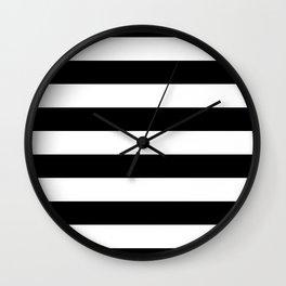 Midnight Black and White Horizontal Cabana Tent Stripes Wall Clock