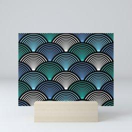 Art Deco Fans Blue Teal Mini Art Print