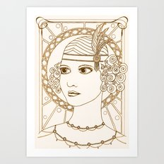 Vintage 1920s Flapper Girl Art Print