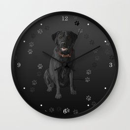 Black Labrador Retriever Paw Prints Wall Clock