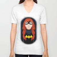 batgirl V-neck T-shirts featuring Batgirl by SoLaNgE-scf