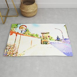 L'Aquila: road mirror with wall and city gate Rug