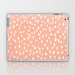 Handdrawn Polka Dot Pattern - White on Peach Laptop & iPad Skin