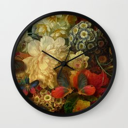 """""""Baroque Spring of Flowers and Butterflies"""" Wall Clock"""