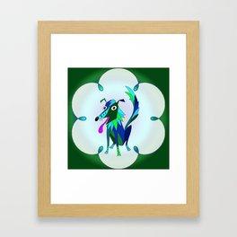 Border Collie Boho Framed Art Print