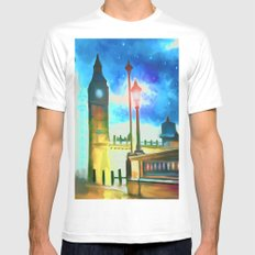 Moon Over London White MEDIUM Mens Fitted Tee