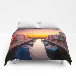 Venice Italy Boats Sunset Photography Comforters