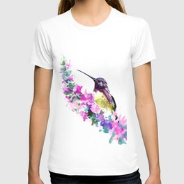 Hummingbird and Pink Flower T-shirt