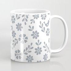 Silver gray symmetric floral bird heart Mug