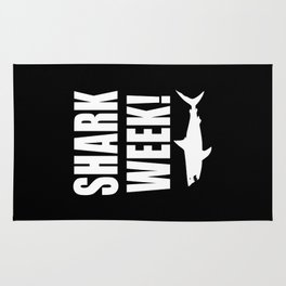 Shark week (on black) Rug