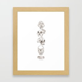 human evolution skulls Framed Art Print