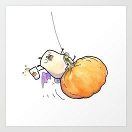 Pumpkinball - Halloween Pug on a Pumpkin Art Print