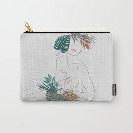 Modern Women Plant Line Art Carry-All Pouch