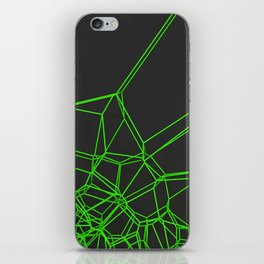 Green voronoi lattice on black background iPhone Skin
