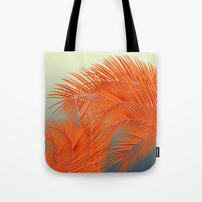 Palm Leaves, Orange Tote Bag