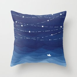 Garland of Stars IV, night sky Throw Pillow