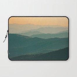 Landscape Photography Teal Turquoise Green Parallax Mountains Hills Orange Sunset Sky Minimalist Pho Laptop Sleeve