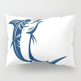 Blue Marlin Jumping Retro Pillow Sham