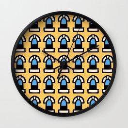 New York Windows Pattern 261 Yellow and Blue Wall Clock