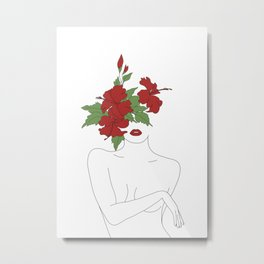 Minimal Line Art Woman with Hibiscus Metal Print