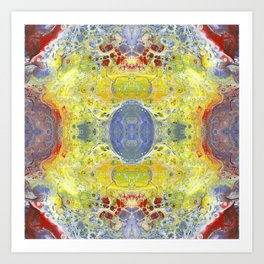 Psycho - UFO Landing in Golden Field surrounded by Inhabitable Lands by annmariescreations Art Print