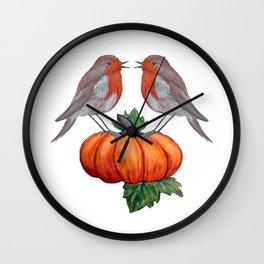 Robins and pumpkin watercolor art Wall Clock