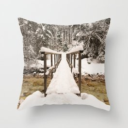 Pericnik Falls Snowy Bridge Throw Pillow