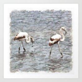 Be A Flamingo Watercolor Art Print