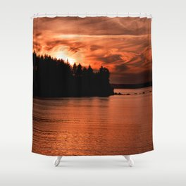 Red Sky At Night Photography Print Shower Curtain