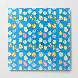 Easter Egg Watercolor Pattern -  Blue Metal Print