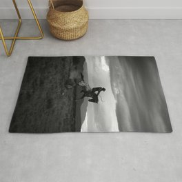 Black and White Cowboy Being Bucked Off Rug