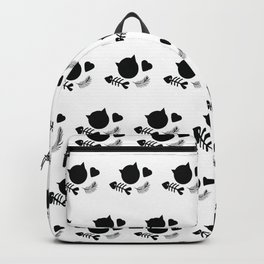 Black and White Cat Cute Pattern Backpack
