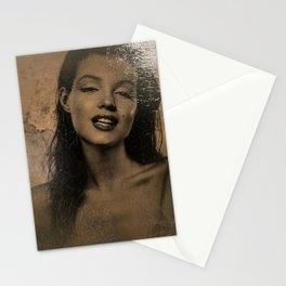 The Brunette Marilyn portrait painting, Hollywood starlet portrait  Stationery Cards