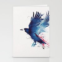 crow Stationery Cards featuring Bloody Crow by Robert Farkas