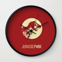 jurassic park Wall Clocks featuring Jurassic Park by :: Fan art ::