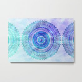 Blue Turquoise And Purple Watercolor Mandala Art Metal Print