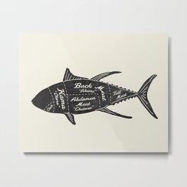 Tuna Butcher Diagram-Fish Metal Print