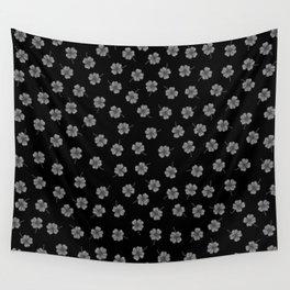 Dark Gray Clover Wall Tapestry