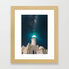 Byron Bay Lighthouse and the Milky Way Framed Art Print